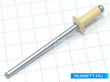 Заклёпка вытяжная 3,2х8 алюминий/сталь RAL 1015