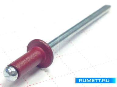 Окрашенные вытяжные заклёпки 4,8х12 RAL 3005 (винно-красный)