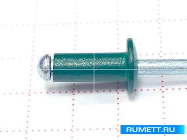 Заклёпка вытяжная 4х10 алюминий/сталь RAL 6005 (зеленый мох)