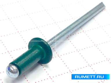 Заклёпка вытяжная 3,2х8 алюминий/сталь RAL 6005