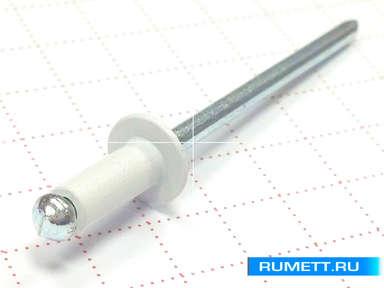 Окрашенная вытяжная заклёпка 3,2х8 алюминий/сталь RAL 9003 (белый)