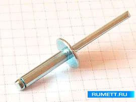 Вытяжная заклепка 4,8x21 сталь/сталь широкий бортик 14 мм