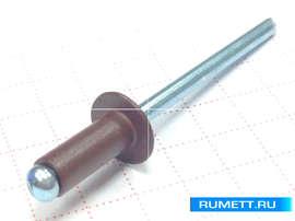 Заклёпка вытяжная 4х10 алюминий/сталь RAL 8019 (коричневый)