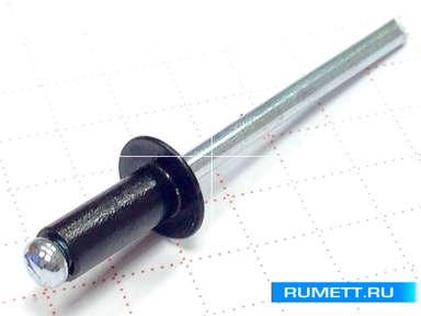 Заклёпка вытяжная 3,2х8 алюминий/сталь RAL 9005 (черные)