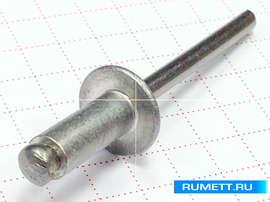 Заклёпка вытяжная алюминий / нержавеющая сталь 5.0x12 мм широкий бортик 11 мм