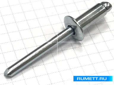 Заклёпка вытяжная 6,4x16 мм оцинкованная сталь ST