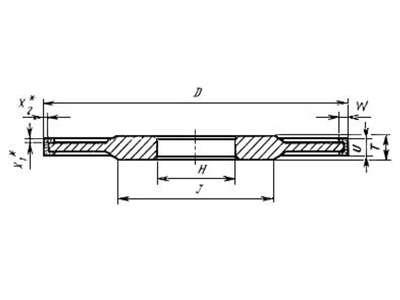 Круг алмазный 14U1 (прямого профиля трехсторонней формы) 125х10х6х4х2х32 АС4 100/80 100% В2-01, 33,6 карат