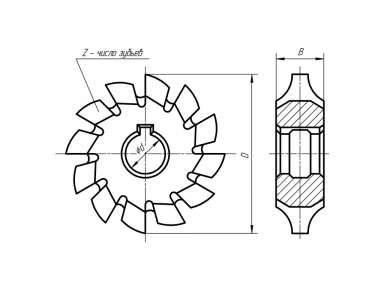 Фреза модульная M 1,5 №1 55х22х6,0 Р6М5 20° Z=14