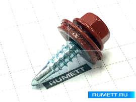 Окрашенный кровельный саморез 4,8х19 RAL 3005 (винно-красный)