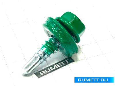 Окрашенный кровельный саморез 4,8х19 RAL 6002 (лиственно-зелёный)