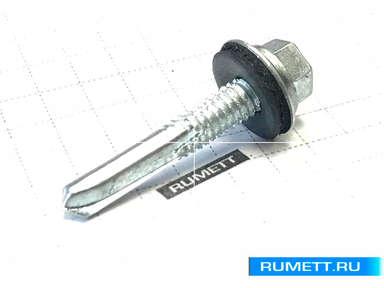 Усиленный саморез для стального профиля 5,5х25 сверло 8 мм и EPDM шайба