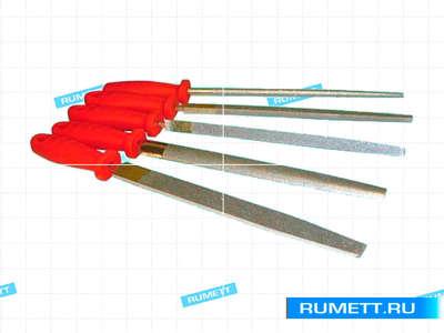 Набор напильников алмазных из 5шт. L200мм 125/100 (с пластм. ручкой) (набор)