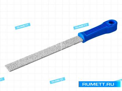 Напильник алмазный квадратный 250мм(р.ч. 235мм) 125/100 с пластмассовой ручкой