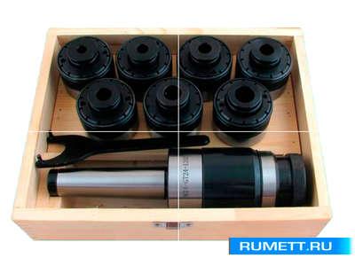 Патрон резьбонарезной с хв-ком КМ4 с набором головок из 7шт. М 3-М12 (MТ4-GT12-110L)