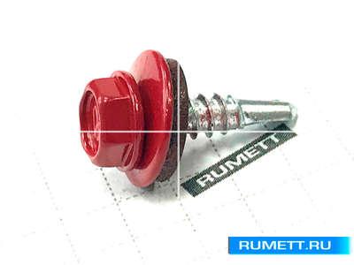 Окрашенный кровельный саморез 4,8х19 RAL 3003 (рубиново-красный)