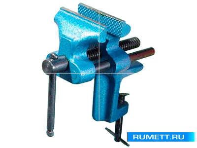 Тиски Слесарные 90 мм стальные настольные, крепление струбциной