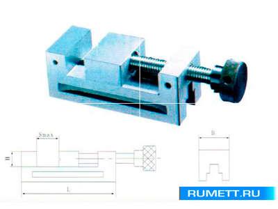 Тиски Станочные 50мм прецизиозные сталь неповоротные ход 65мм и перпенд. 0,005/100 HRС 58-62 (QGG50)